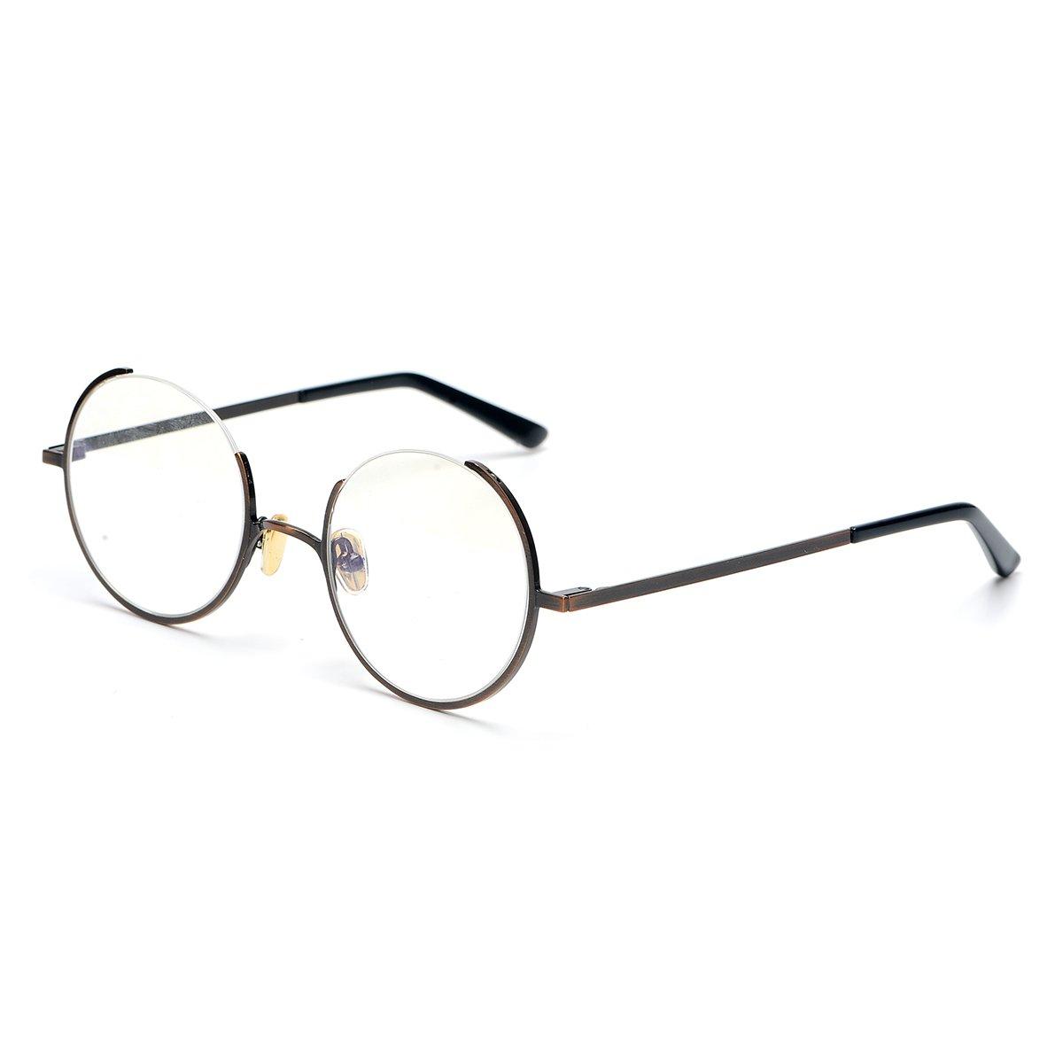0ce86c0649 Amazon.com  SO SMOOTH WIND Glasses Frame Three Fourths Round Retro  Eyeglasses Gap design Prescription Eyewear Frame R1105 (Bronze