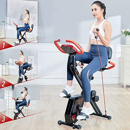pooboo Folding Exercise Bike Indoor Cycling Bike Magnetic Upright Bike Stationary Bike