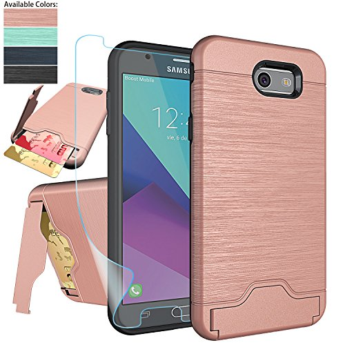 Galaxy J7 V / J7 Perx /J7 Prime/J7 Sky Pro/Halo Case with Screen Protector,NiuBox [Card Slot Wallet Fit Card][Kickstand] Full Body Shock Absorption Protective Phone Case for Samsung J7V 2017-Rose Gold