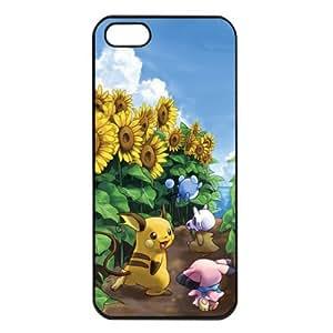 Pokemon Popular Cute Pikachu Raichu Apple iPhone 5 TPU Soft Black or White Cases (Black)