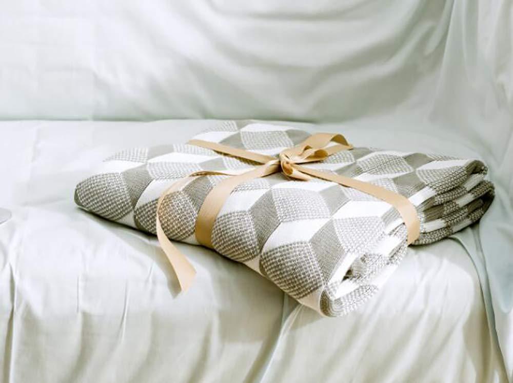 Yunyilian 幾何学的なジャカード、ニット毛布、綿のナップライン毛布(綿) (Color : グレー, サイズ : 130/160cm) B07T6F4285 グレー 130/160cm