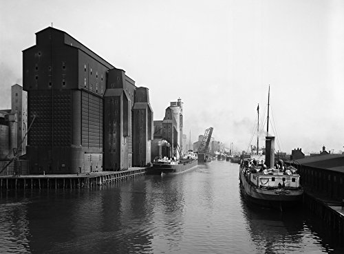 - Buffalo Canal Harbor Nsteamboats And Grain Elevators In The Canal Harbor Buffalo New York Photograph C1910-1920 Poster Print by (24 x 36)