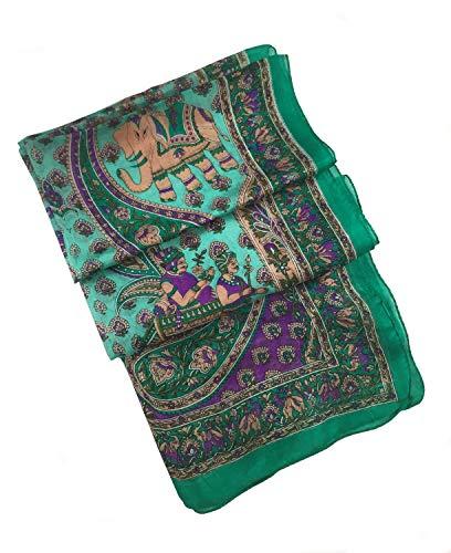 Antique Silk Shawl Wrap Scarf - Vintage Inspired Bohemian Silk Elephant Scarf (Green Pure Silk)