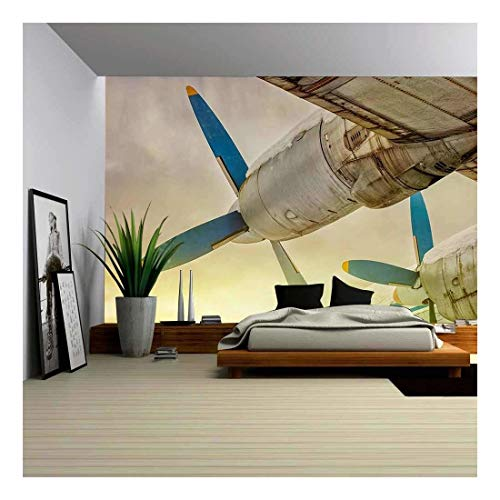 - wall26 - Old Wing Aircraft with Propellers at Sunset - Removable Wall Mural | Self-Adhesive Large Wallpaper - 100x144 inches