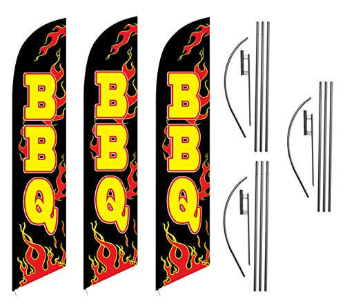 BBQ Barbecue Restaurant Advertising Feather Flag Kits Package, Includes 3 Banner Flags, 3 Flag Poles, and 3 Ground Stakes