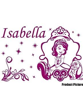 Colores Princess Sofia con tu nombre del color Raspberry 60 cm x 40 cm, personalizable nombre, infantil, para niños juego de pegatinas decorativas, vinilo de coche, Windows y adhesivo decorativo para pared, diseño de pared Windows, adhesivo, diseño de vinilo adhesivo para ThatVinylPlace