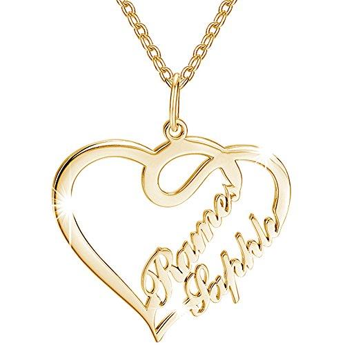 SOUFEEL Custom Name Necklace 14k Gold Plated Copper Heart Ne