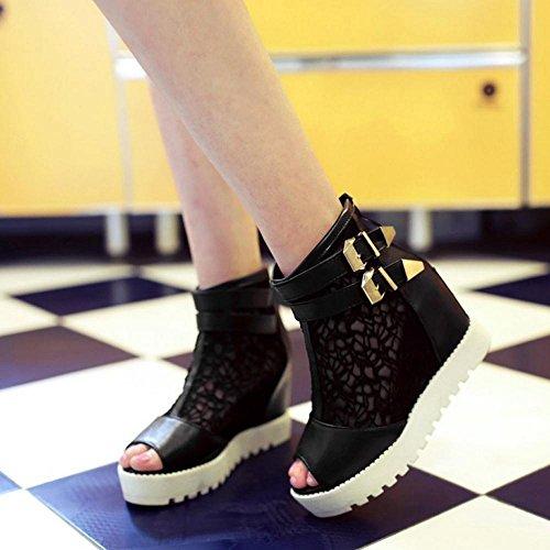 COOLCEPT Damen Mode Sommer Schneestiefel Zipper Black-2