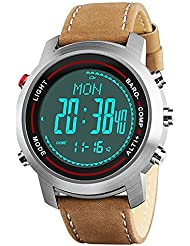 SPOVAN Men's Sports Watch with Genuine Leather Band Military Watches