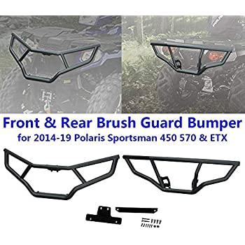 ECOTRIC Front and Rear Brush Guard Bumper 2Pcs Fit for 2014-2019 Polaris Sportsman 450 570 Black Steel Bumper Protector Front and Rear