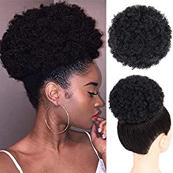 Afro Ponytail Drawstring Afro Buns Synthetic Curly Hair Short Afro Kinky Curly Wig Kanekalon Fiber Afro Ponytail for Natural Hair Puff Ponytail Wrap Updo Hair Extensions with Two Clips