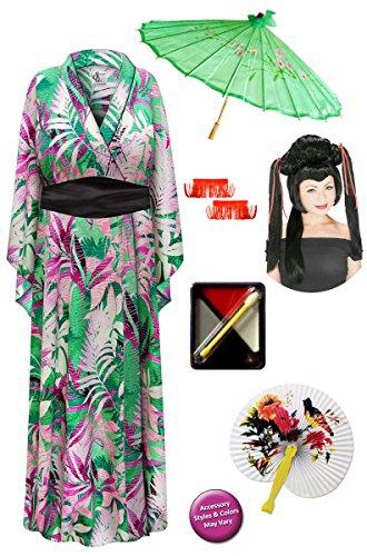 [Magenta Green Geisha Robe Plus Size Costume - Deluxe Red Ribbon Wig Kit 1x/2x] (Geisha Halloween Costume Makeup)