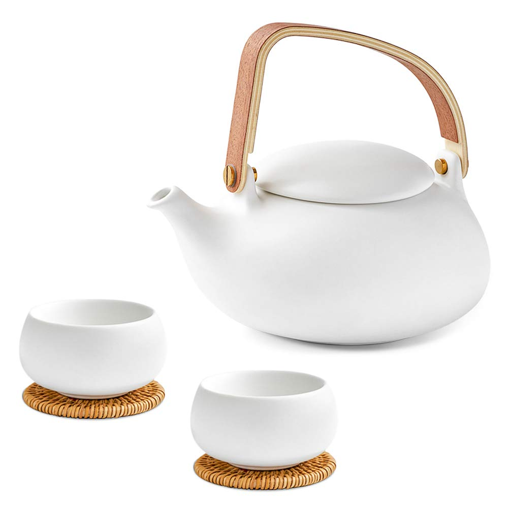 ZENS Ceramic Teapot Set with Infuser,White Modern Tea Gift Sets for Audlt,27oz Smooth Matte Finish Tea Pot Set for Loose Leaf Tea Pots with 2 Teacups & Rattan Coasters