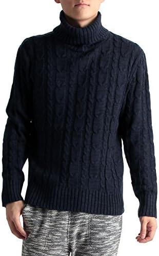 ケーブル編み タートルネックニットセーター メンズ