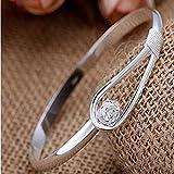 Women's Crystal Rose Flower Bangle Cuff Bracelet Jewelry Silver
