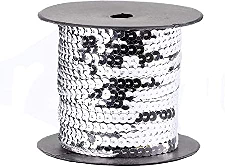 Spangle Paillette Sequins Roll Spangle Flat,String Trim DIY Projects 6MM,100 Yard Sequin String Ribbon Roll for Crafts,Embellishments,Costume Accessories Silver, 6mm