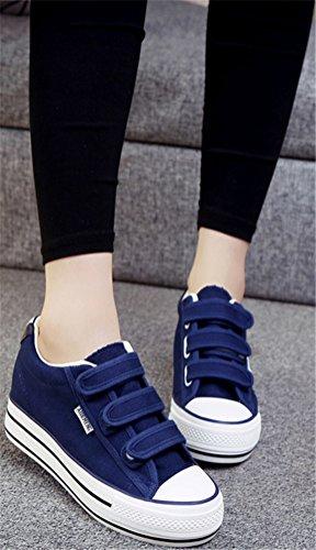 Satuki Dold Häl Mode Sneakers För Kvinnor, Casual Krok Och Ögla Kilar Plattform Tygskor Blå