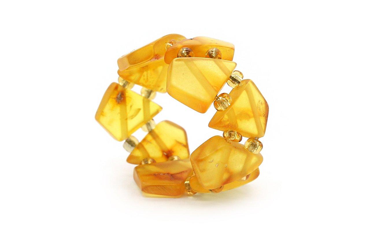 Genuine Natural Honey Baltic Amber Adjustable Beaded Ring for Women