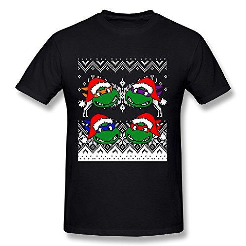 Nubia Mens Christmas Teenage Mutant Ninja Turtles Cool Tshirt Black Size L