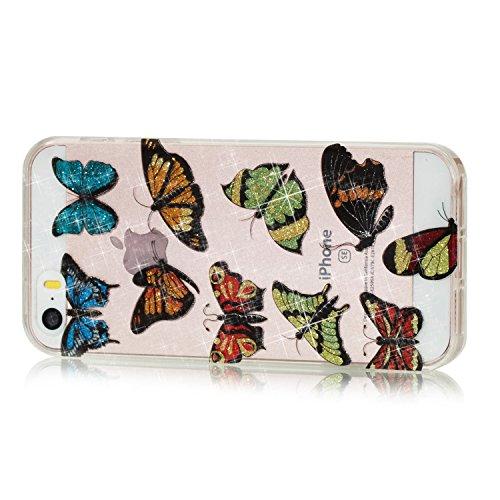 Qiaogle Teléfono Caso - Funda de TPU silicona Carcasa Case Cover para Huawei Y5 2017 / Y6 2017 (5.0 Pulgadas) - YB69 / Dreamcatcher YB76 / Couple Mariposa