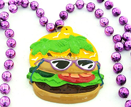 Cheeseburger Bourbon Street Mardi Gras Beads New Orleans Bayou Lousianna Cajun Creole Party