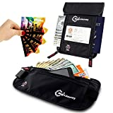 Travel Money Belt & Neck Pouch with 4x RFID Blocking Card Sleeves by MagicJourney - Feel Safe and Comfortable