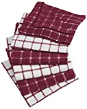 DII Cotton Terry Windowpane Dish Cloths, 12 x 12'' Set of 6, Machine Washable and Ultra Absorbent Kitchen Dishcloth-Wine