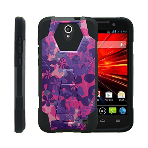 TurtleArmor | ZTE Grand X 3 Case | ZMax Champ Case | ZMax Grand | Warp 7 [Dynamic Shell] Hard Hybrid Resistant Silicone Kickstand Impact Cover Protection Girl Designs - Pink Purple Flowers