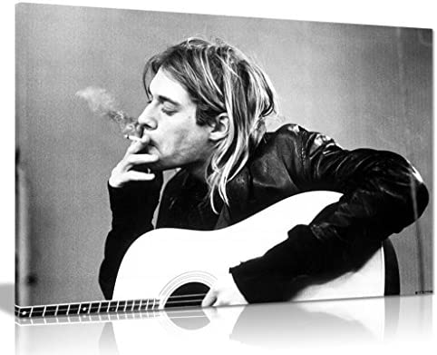Kurt Cobain Nirvana Smoking Canvas Wall Art Picture Print 36x24in