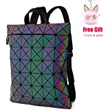 LOYOMA Geometric Luminous Backpack Purse for Teen Boy Girls Holographic Travel Bag (Rainbow Backpack 1)