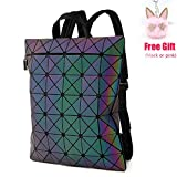 LOYOMA Geometric Luminous Backpack Purse for Teen Boy Girls Holographic Travel Bag (Rainbow Backpack 1)