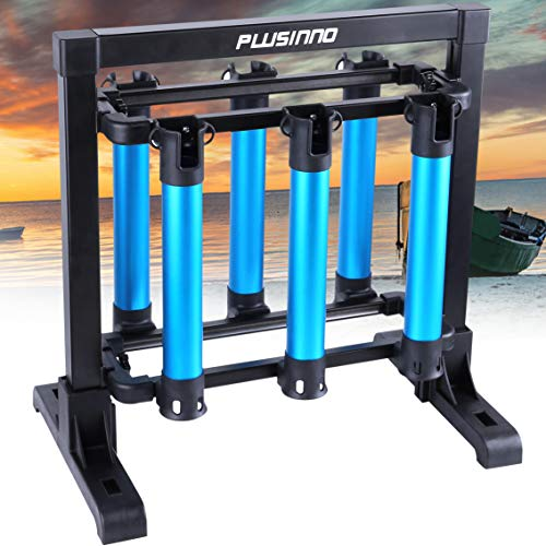 PLUSINNO Fishing Rod Rack, Metal Aluminum Alloy Fishing Rod Stand Organizer, Hold Up to 6 Rods, Fishing Rod Storage Holder for All Type Fishing Pole Gear Garage