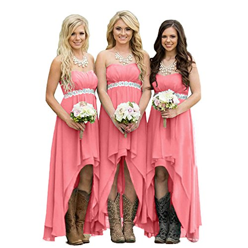 Fanciest Women' Strapless High Low Bridesmaid Dresses Wedding Party Gowns Coral US2 (Dress Wedding Pink For Light)
