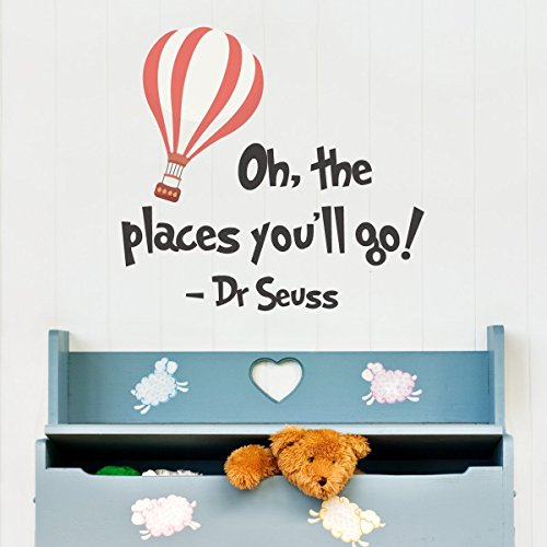 Letters Wall Decor Stickers TM Dr Seuss Oh The Places You'll Go Wall Quote Lounge Kids Bedroom Playroom Classroom Wall Sticker Decal Vinyl Transfer Wall Art -