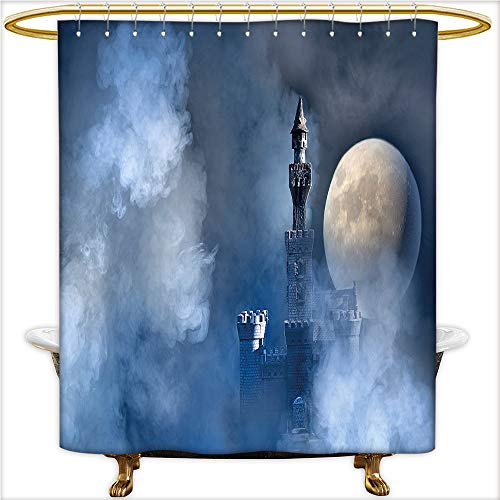 Qinyan-Home Shower Curtain Collection Fantastic Magical Castle with Grey Cloud Moon Light Eclipse for White Blue Grey and Dark Blue. Bathroom Decorations.W54 x H72 Inch