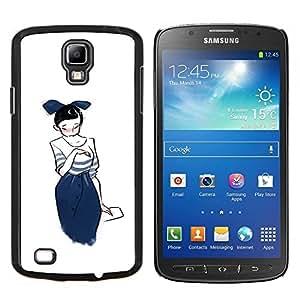 YiPhone /// Prima de resorte delgada de la cubierta del caso de Shell Armor - Gráfico de la chica japonesa Sketch Moda azul de Bowtie - Samsung Galaxy S4 Active i9295