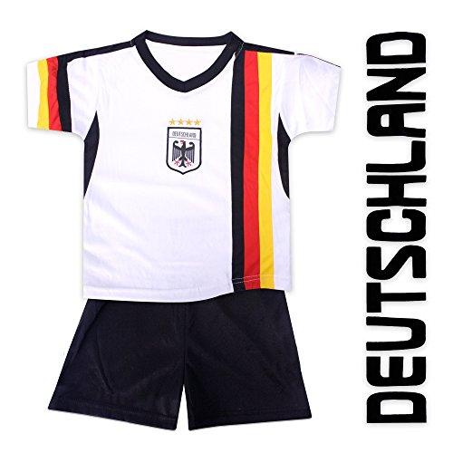 Kinder Trikot Deutschland mit Stick schwarz rot gold Oberteil + Hose 96-152 (96-104)