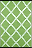 Green Decor Diamond Lightweight Indoor/Outdoor Reversible Plastic Rug, Herbal Garden Green/Ivory, 3 ft x 5 ft (90 cm x 150 cm)