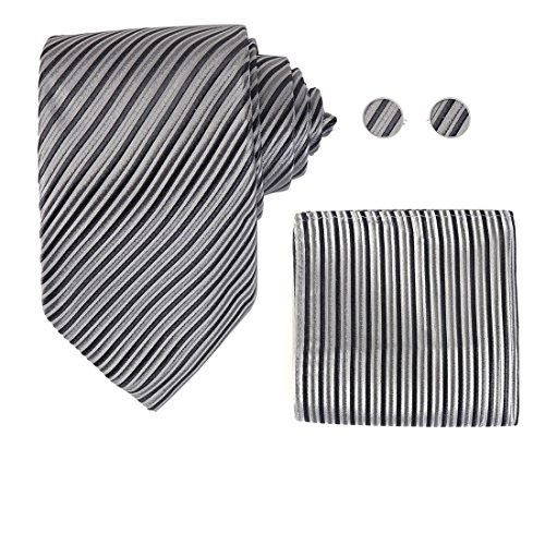 Y&G H7023 Grey Striped Inspire Presents Shopstyle Gift Idea Silk Ties Cufflinks Hanky Set ()