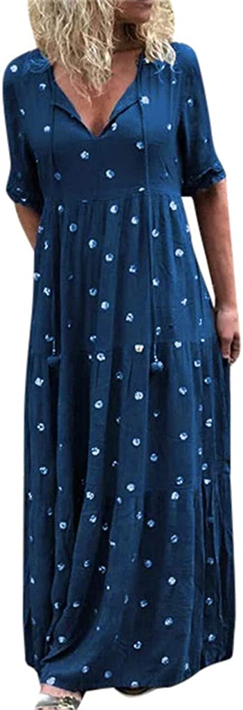 Womens Casual Dresses Polka Dot Printed Cold Shoulder Lace Ruffle Bow Dress