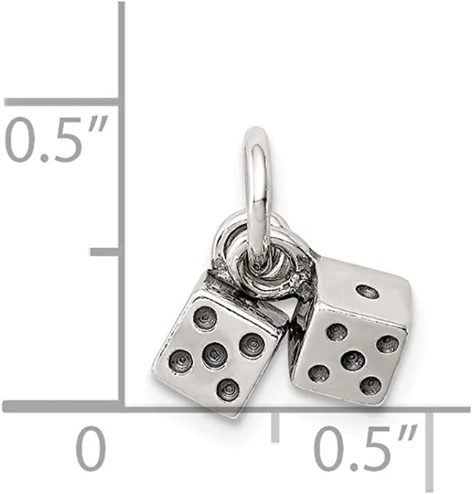 16-20 Mireval Sterling Silver Antique Dice Charm on a Sterling Silver Chain Necklace