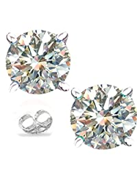 RINGJEWEL Silver Plated Round Real Moissanite Stud Earrings (1.75 Ct,Next to White Color,VVS1 Clarity)