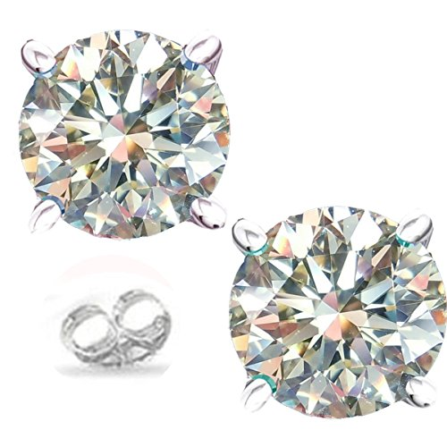 RINGJEWEL Silver Plated Round Real Moissanite Stud Earrings (1.60 Ct,Next to White Color,VVS1 Clarity)
