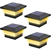 Poste de luces LED solares para jardín al aire libre impermeable cuadrado negro paisaje post Cap lámpara para postes de…