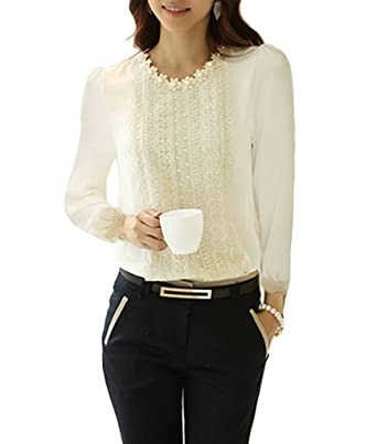 Minetome Ol Ladies Lace Blouse Long Sleeve Chiffon Tops Tunics ...