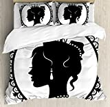 Princess Duvet Cover Set King Size by Lunarable, Antique Victorian Picture Frame Black Silhouette Noble Lady Woman Accessories, Decorative 3 Piece Bedding Set with 2 Pillow Shams, Black White
