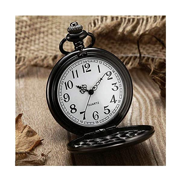 LYMFHCH Classic Smooth Vintage Quartz Pocket Watch, Arabic Numerals Scale Mens Womens Watch with Chain Xmas Fathers Day Gift