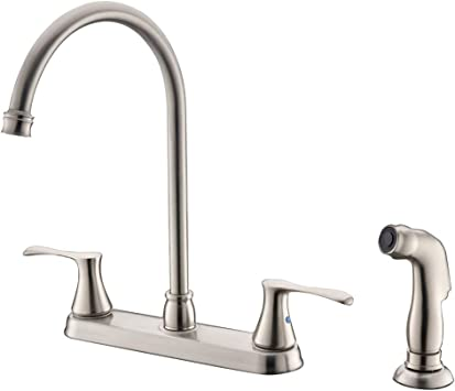 Xfhome Kitchen Faucet With Sprayer High Arc Two Handle Brushed