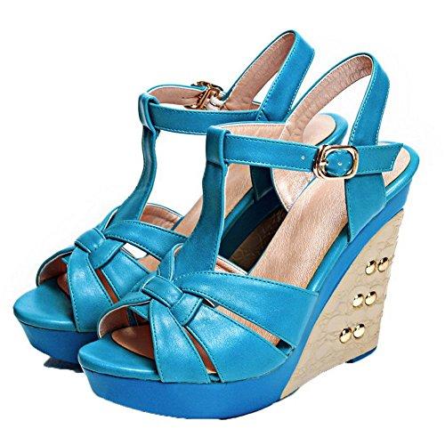 À Couleur Tsflg005383 Ouverture Sandales Haut Aalardom Bleu Femme Unie Talon Boucle Petite px0qqRnwIS