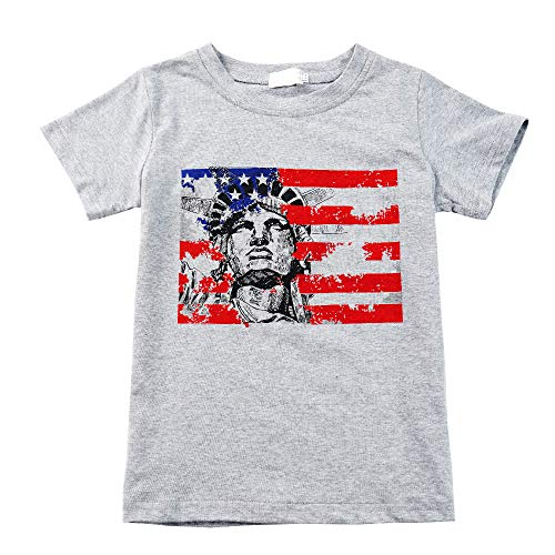 Toddler Boy Summer Tshirt Short Sleeve USA Flag The Statue of Liberty Boy Tee Grey